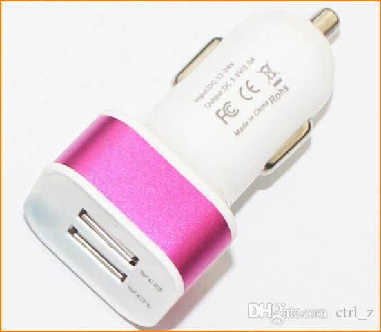 Caricabatteria da auto caricabatteria da auto in metallo doppio caricatore USB 2 Caricabatteria da porta USB Samsung Galaxy Blackberry Nokia SONY LG S5 S4