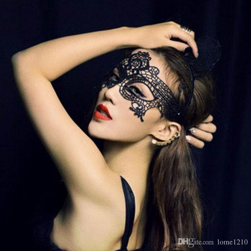 Negro envío del cordón atractivo de la máscara de la máscara de recorte de ojos Disfraz de Halloween mascarada del partido de DHL