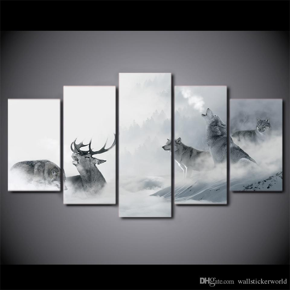 Framed HD Printed White Howling Wolf Group Deer Wall Canvas Print Poster Asian Modern Art Oil Paintings Pictures