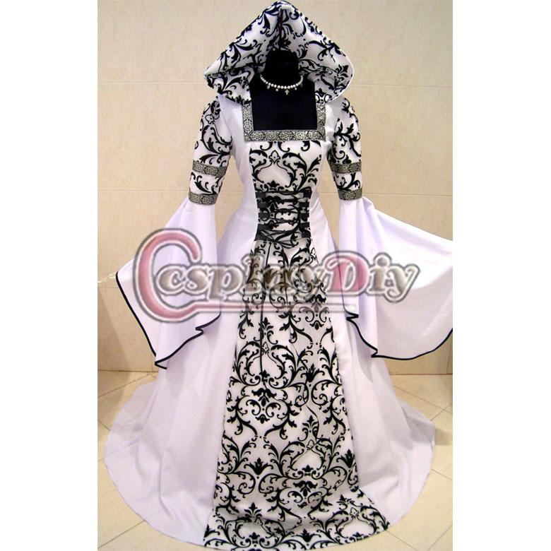 Custom Made White And Black Medieval Avictorian Renaissance Gothic