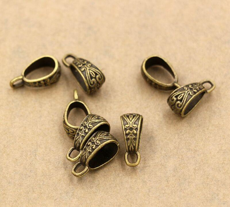 Caliente ! Plata antigua / oro / bronce aleación de zinc Triángulo Colgante Conector Bail Cierres 7x17mm