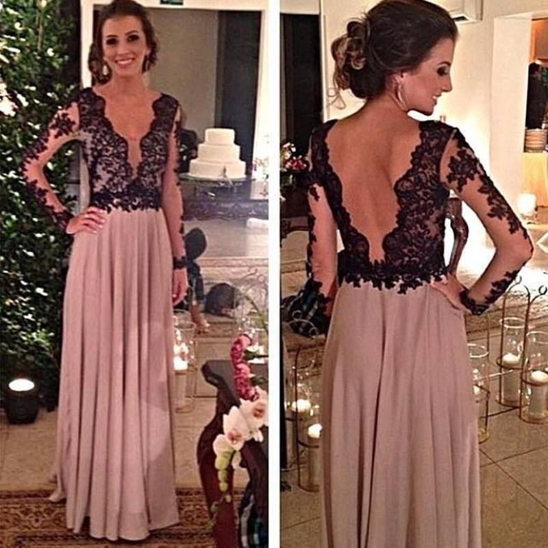 Robe De Soire Arabic Evening Dresses Black Lace Sheer Long Sleeve Celebrity Party Dresses Chiffon Plunging Neckline Backless Prom Dresses