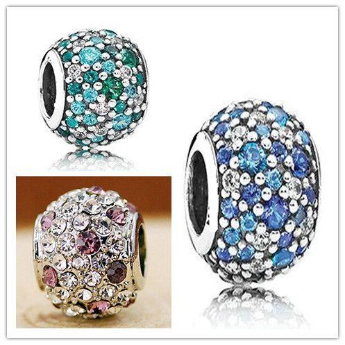 Wholesale 925 Silver Midnight Pink Shining Round Zircon European Charms Bead Fit Pandora Snake Chain Bracelets Bangles DIY Jewelry