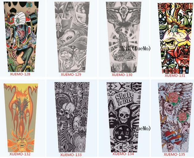 Mixed 100% Nylon Elastic Fake Temporary Tattoo Sleeves Designs Anti UV Arm Stockings Tattoo Wears Fishing Driving Sleeves Unisex Up to