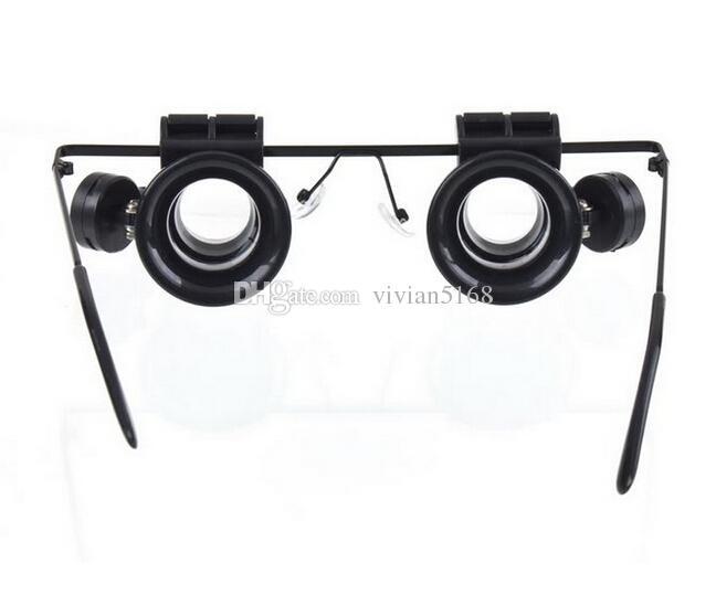 Vendita al dettaglio 20X Magnifier Eye Glasses Gioielliere Lente di ingrandimento LED strumenti di riparazione della luce del LED Ingrandimento con batteria 9892A spedizione gratuita