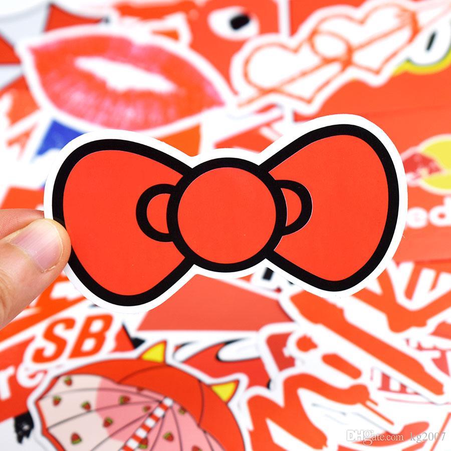 Autoadesivi rossi del fumetto JDM Car Decal Decorazione della casa Bambino adulto DIY Mobile Skateboard Bike Bagaglio Doodle giocattolo regalo creativo