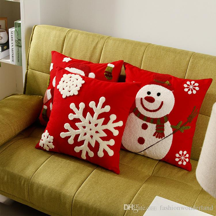 Christmas Festival Sofa Cushion Covers Snowman Pillow Cases Snowflake Santa Claus Pillows Decoration Car Office Decor Kids Gift