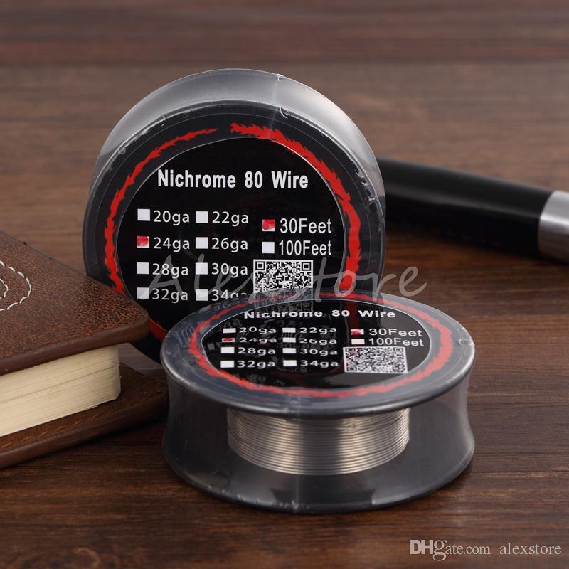 니크롬 80 와이어 가열 저항 코일 30 피트 스풀 AWG 24g 26g 28g 30g 32g 게이지 - 재건 가능한 RDA RBA 분무기