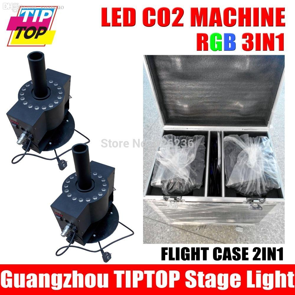 cheap lighting effects. Wholesale-Flight Case 2in1 + RGB LED CO2 Jet Machine Smoke Professional DJ Fog Lighting And Effects Tig Light End Cheap