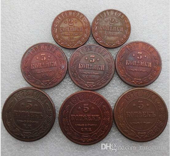 8pcs/lot RUSSIA 2/3/5 Kopecks 1868,1872,1892,1911,1917 Mixed date Copper Cheap Factory Price nice home Accessories Coins