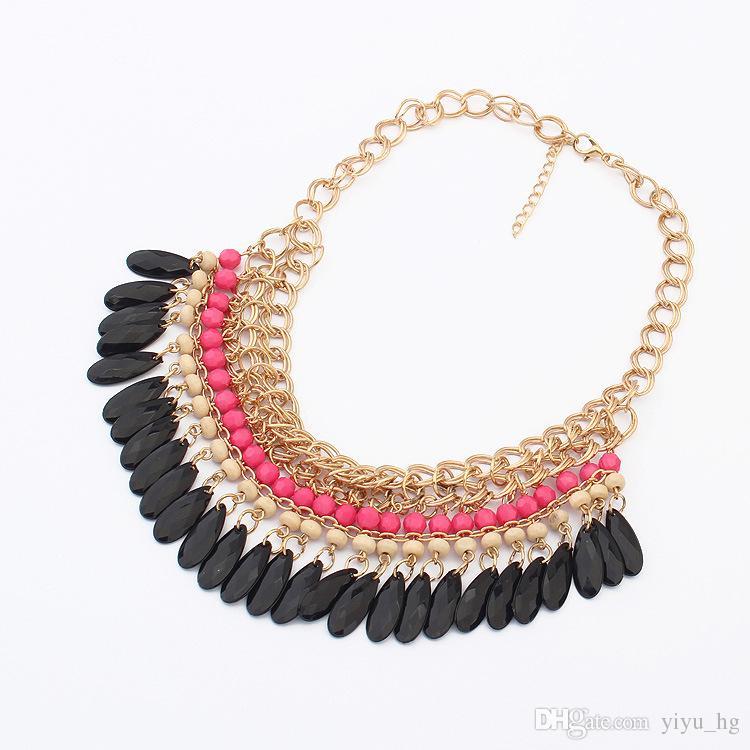 2015 Bohemian Retro Vintage Fashion layered Gem Beads Tassel Bib Choker Gold Necklace Women Female hot Sale