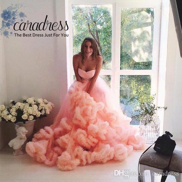 Russian Elegant Cloud Ruffles Wedding Dresses Sweetheart Beaded Waist Plus Size Peach Tulle Maternity Wedding Gown For Pregnant Weddings