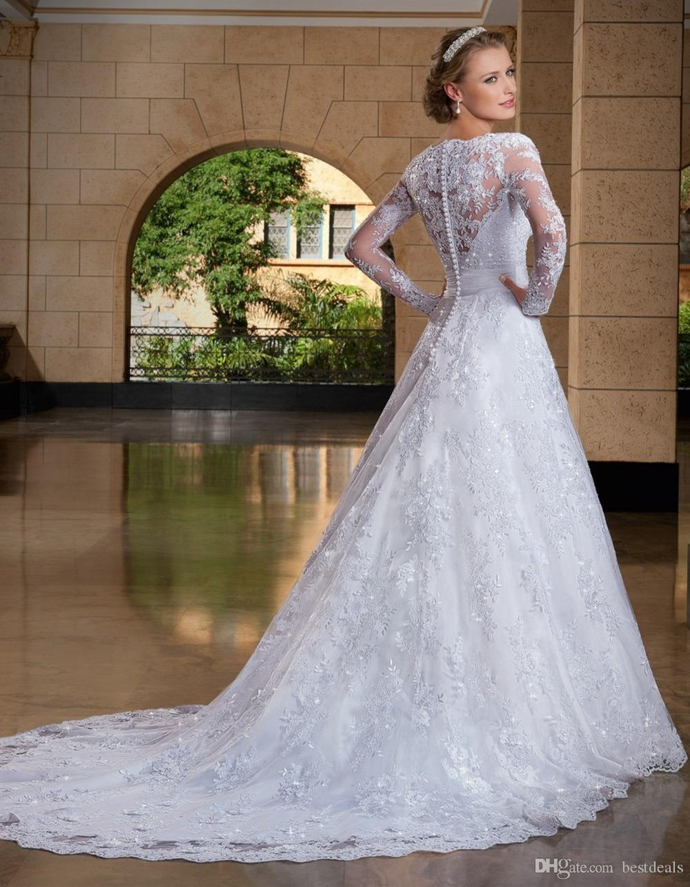 2016 Spring New Pure White Lace A-Line Wedding Dresses Plunging Neckline See Through Back Long Sleeves Bridal Gowns Vestido De Noiva Manga