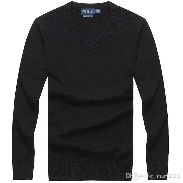 High quality classic brand Polo Sweaters Men's sweater polo sweater pullover V collar Warm sweater