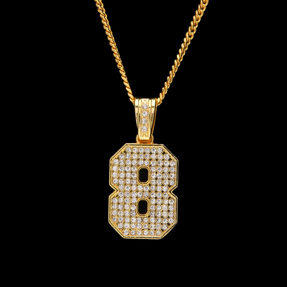 Wholesale hip hop style rappers pendants charms necklaces 18k gold wholesale hip hop style rappers pendants charms necklaces 18k gold plated number 8 rhinestone necklace fashion men jewelry cheap pendant necklaces pendants aloadofball Choice Image