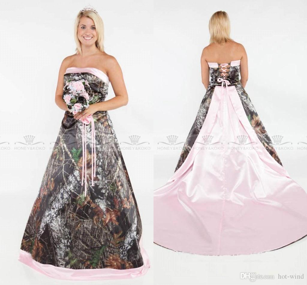 Vintage Strapless Wedding Dresses 2019 Camo Forest Satin Pink Edged Wedding Gowns with Lace Up and Removable Train Bridal Gowns