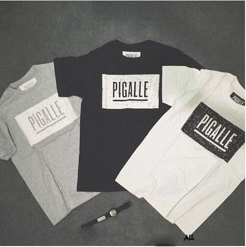 Pigalle Speckled Box Logo Printed T Shirt Short Sleeve Crewneck ...