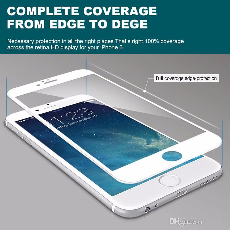 Vidrio templado 3D HD Película protectora suave para iPhone 5 5c 5s 6 más 6 s Protector de pantalla de fibra de carbono de cubierta completa Epacket libre