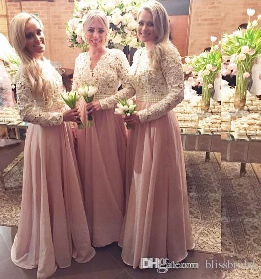Pink Chiffon Muslim Bridesmaid Dresses For Wedding Hollow Long Sleeves Lace Appliques Long Prom Dresses With Pearls Beades Sash