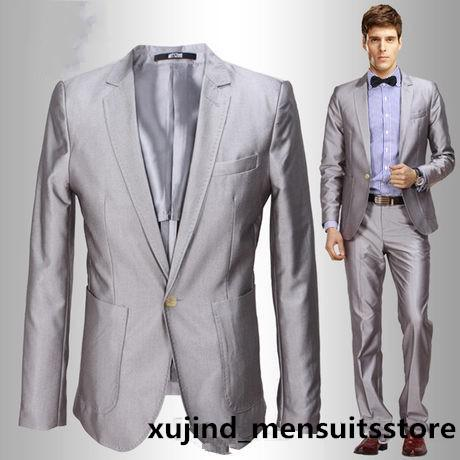 2015 Korea Satin Bright Silver Grey Groom Tuxedos Notched Lapel ...