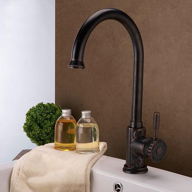 Oil Rubbed Bronze ORB Black Brass Kitchen Faucet Mixer Tap Swivel ...