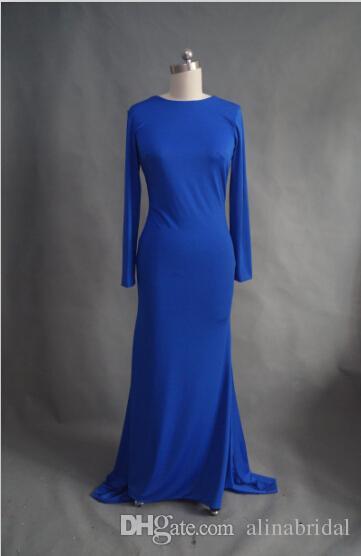 2015 로얄 블루 머메이드 이브닝 드레스 높은 목 긴 소매 크로스 백업 스판덱스 정장 드레스 긴 여자 맥시 파티 파티 가운