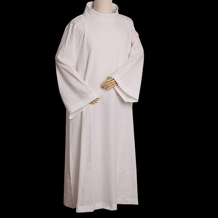 Religie Alb Catholic White Webtments W W Roll Collar Solid Linen Robe D001 Hoge kwaliteit met snelle verzending