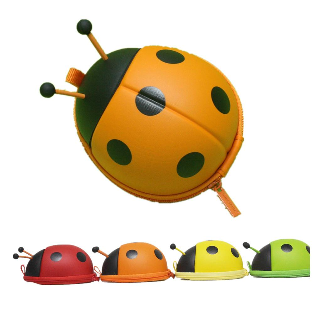 kids ladybug shaped coin purse cute animal small mini wallet brand
