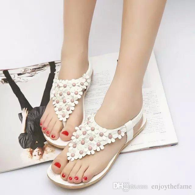 2015 bohemia sandals for women summer shoes women flip beaded flower flip-flop flat sandals 36-39 White Beige Flower Cheap Shoes