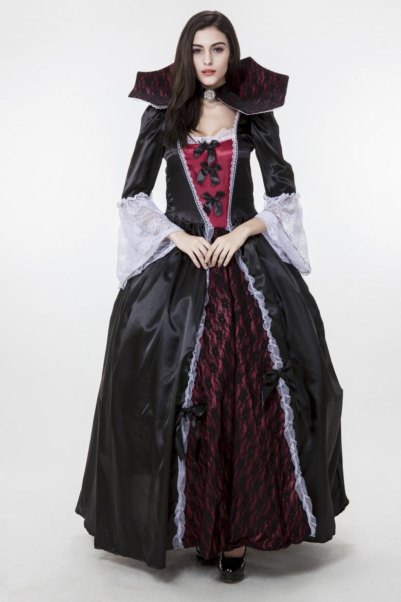 2017 New Adult Vampire Costumes Satin Lace Black Sexy Cosplay Halloween Women Dress Drop Shipping Stage Performance Clothing Hot selling