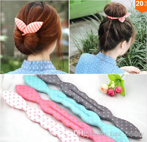 10%off 20 pcs Cute Print Dot Stripe Girls Metal Wire Bow Hair Accessories Bunny Ear Elastic Headband Tie All-match Women Headwear Ropes