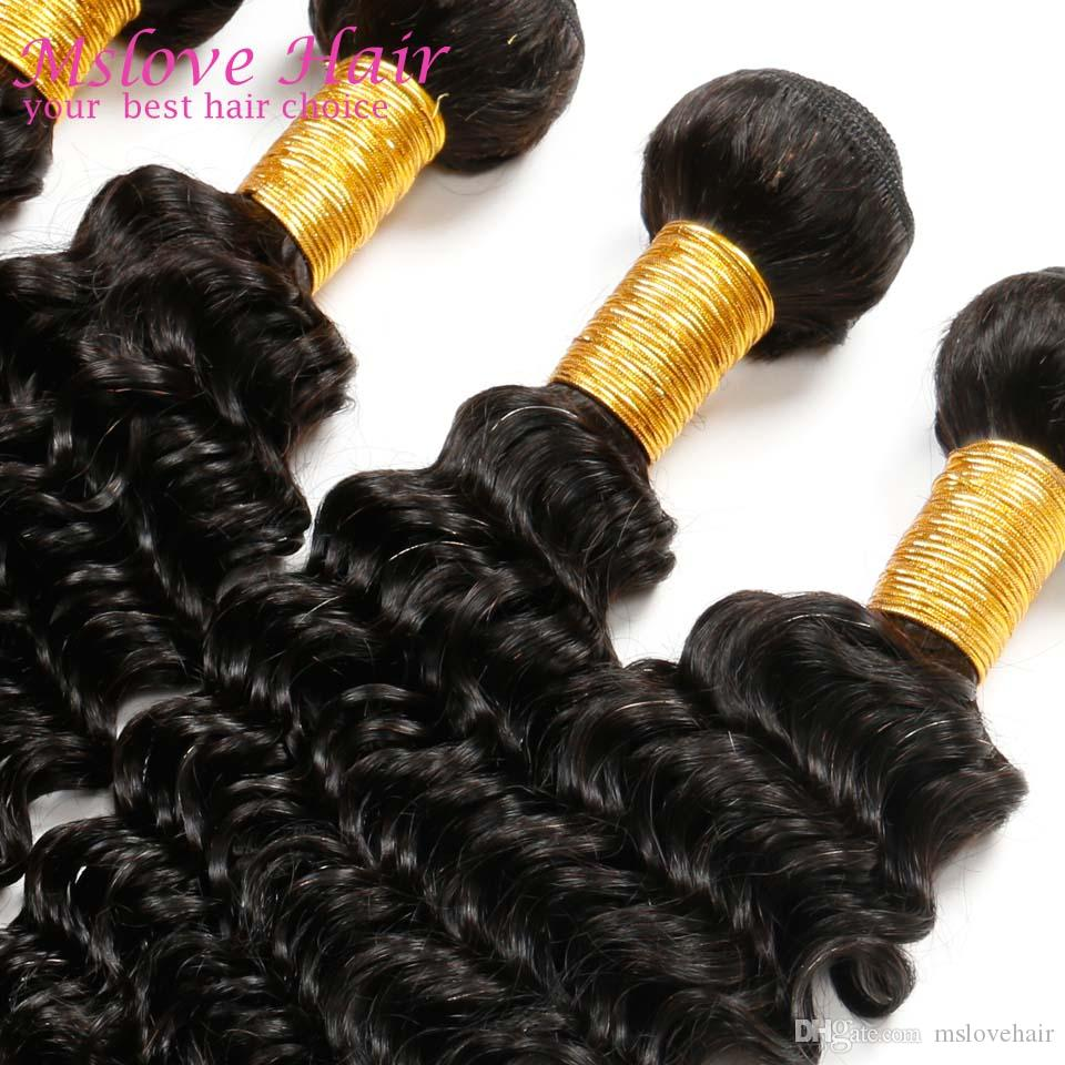 Deep curly brasiliani VirginHair Queen Prodotti capelli Brasiliani Deep Wave 4 Bundles 7A VirginHair ricci brasiliani non trasformati