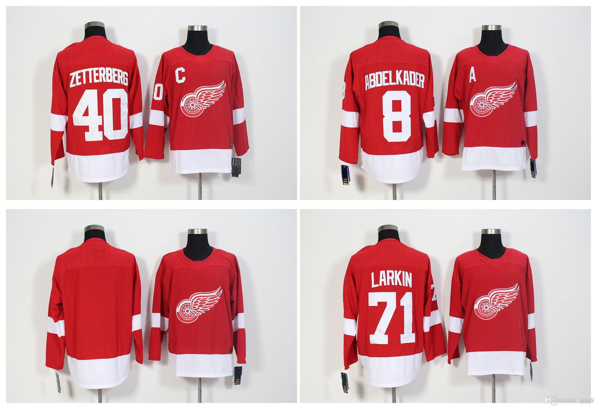 383e30a0533 2019 2018 Season AD Detroit Red Wings Jersey 40 Henrik Zetterberg 71 Dylan  Larkin 8 Justin Abdelkader Blank Stitched Hockey Jerseys !