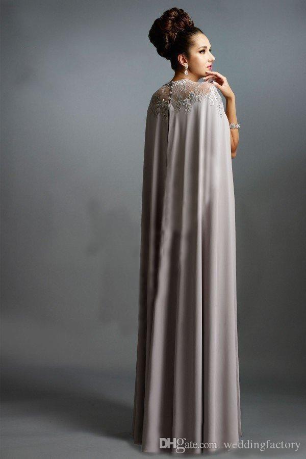Bescheidene arabische Abendkleider mit Cape lange formale bodenlangen Illusion Lace Appliques Mantel Prom Pageant Kleider nach Maß