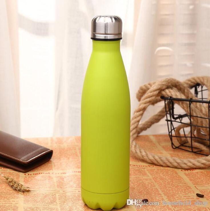 الفولاذ المقاوم للصدأ كولا شكل زجاجة مياه الزجاجات فراغ زجاجات الكؤوس الرياضة في الهواء الطلق DRINKWARE أباريق 500ML دعم OEM الأزياء