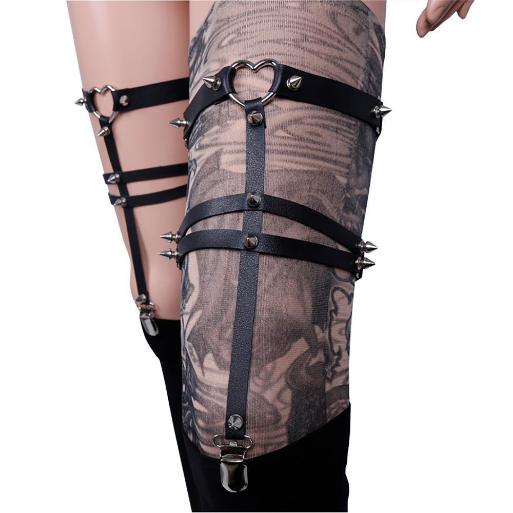 f8f01ca10d8 2019 Gothic Women Ankle Bracelet New Harajuku Garters For Leggings Sock  Suspenders For Women Heart Plus Size Garter From Charitystore