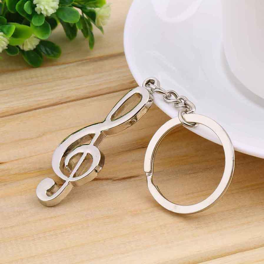 key ring key chain silver plated musical note keychain for car metal music symbol key chains