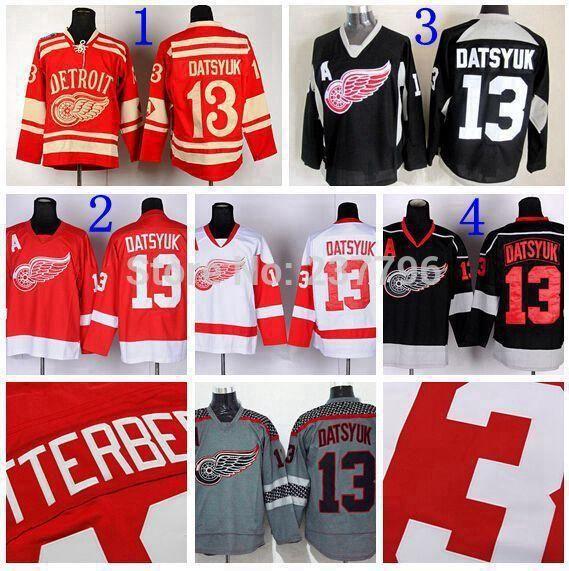 Detroit Red Wings Jersey  13 Pavel Datsyuk Ice Hokcey Jerseys Red Black  White Grey Datsyuk Winter Classic Jerseys Best Quality UK 2019 From  Probowl 4789e23bbcb
