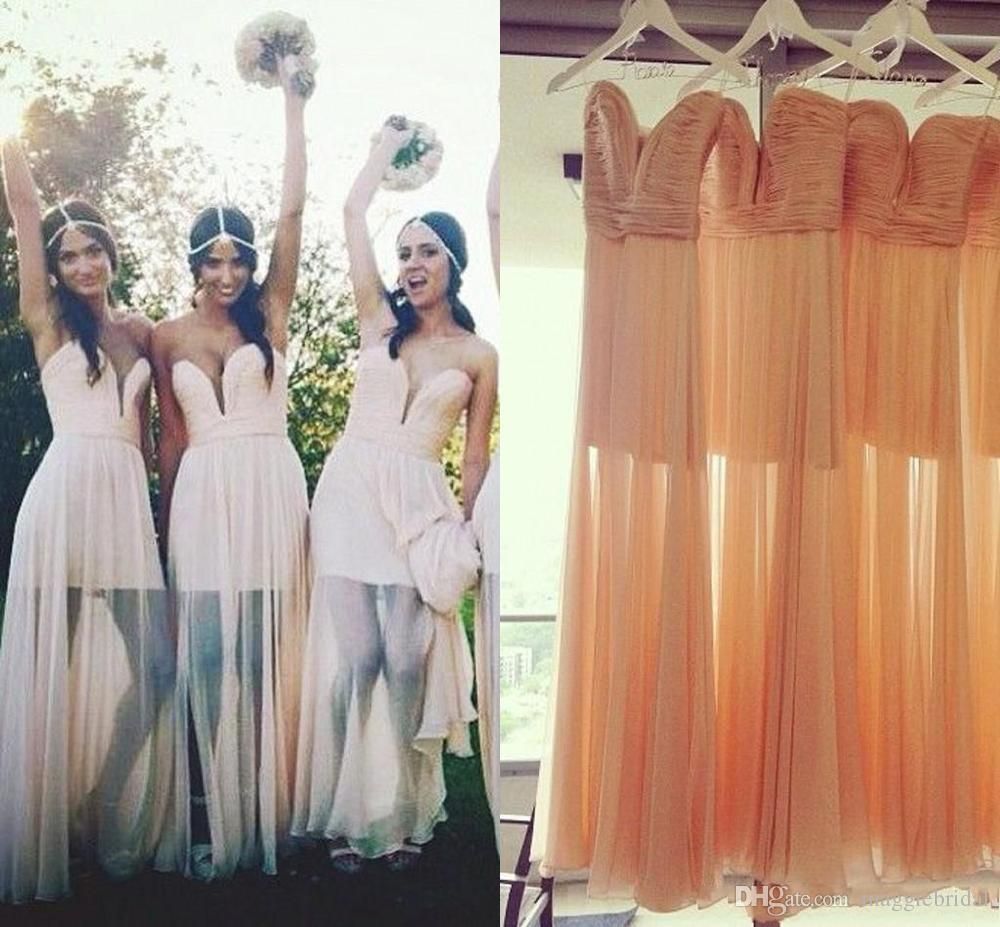 Bohemian Style Beach Cheap Bridesmaid Dresses Sweetheart Neckline ...