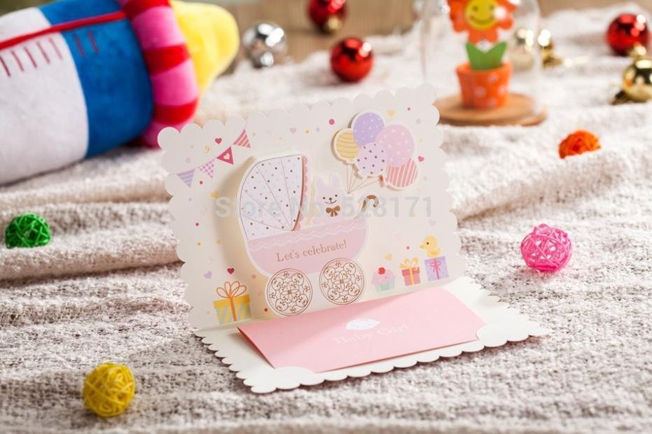 Wholesale Lovely Invitation Cards 3D Cartoon Baby Shower Card First Birthday Favor Free Online