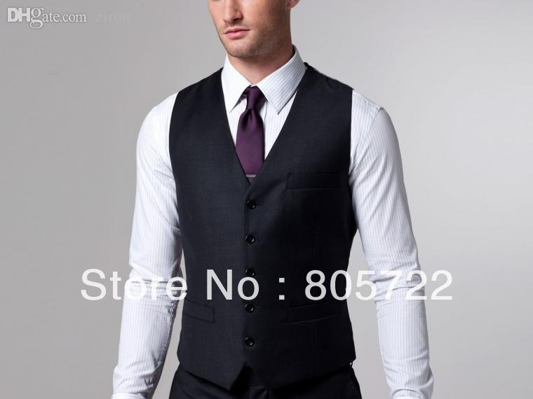 2018 Wholesale Custom Made Charcoal Suit With Vest Wool Suit ...