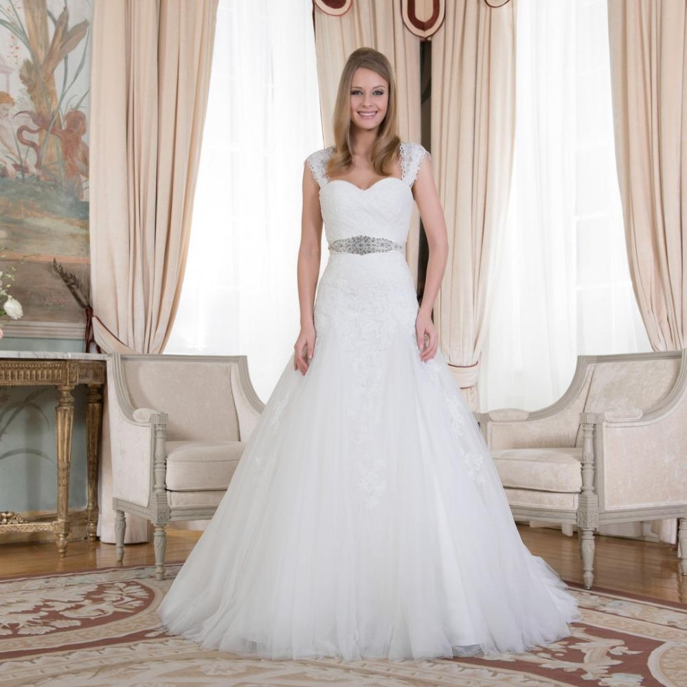 Sweetheart Wedding Dress With Cap Sleeves: Discount Bewitching Looking Sweetheart With Cap Sleeves