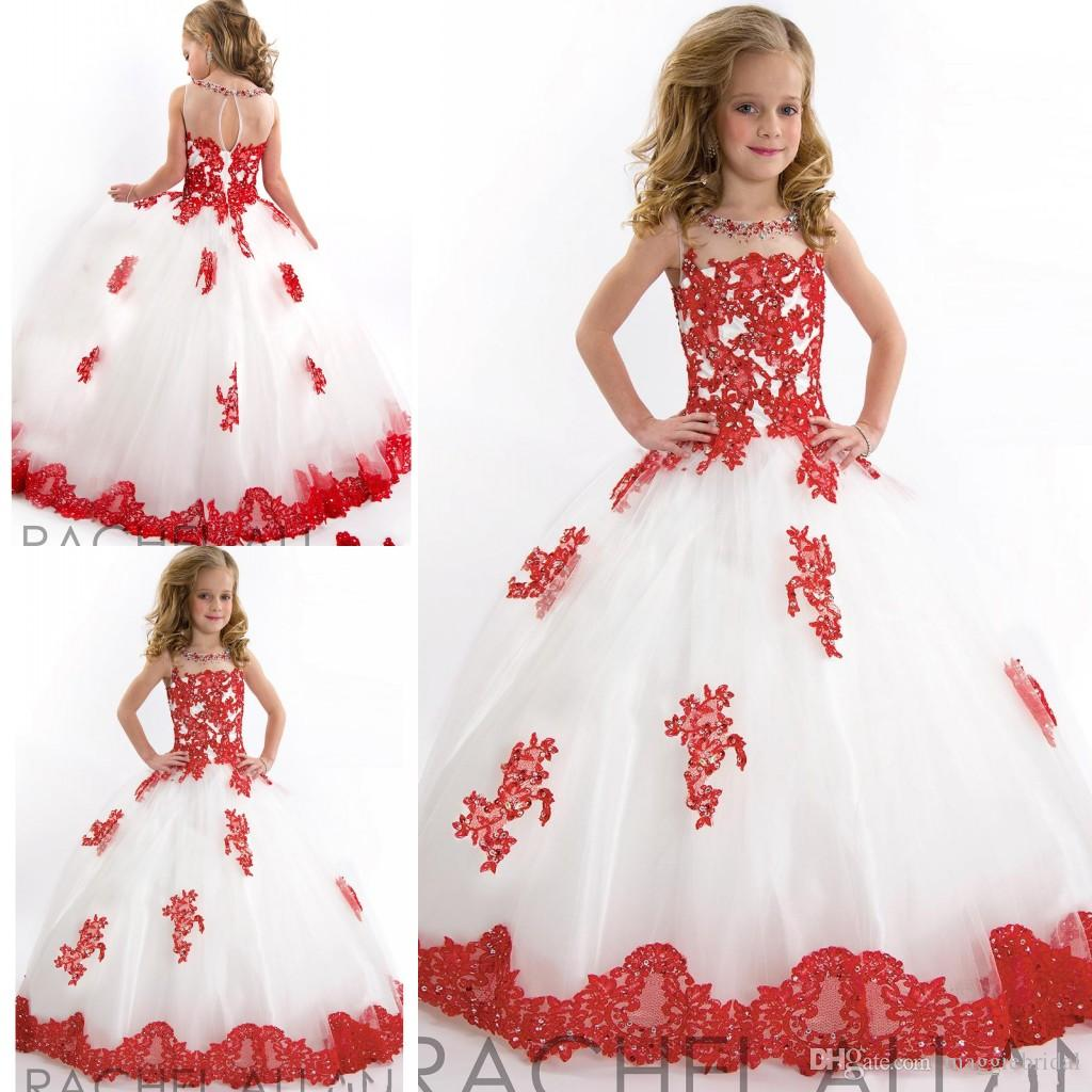 Ball Gowns Long White And Red Flower Girls Dresses Appliqued Tulle