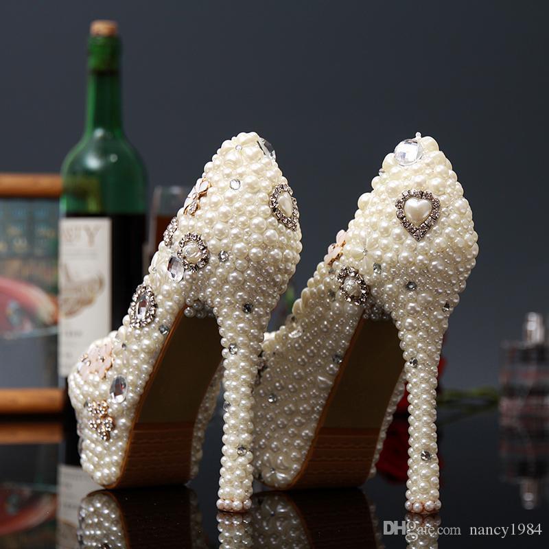 Новое Прибытие Оригинальный Ручной Работы Жемчуг Белый Алмаз Свадебные Туфли Принцесса Невеста Обувь Невесты Платье Обувь Бесплатная Доставка