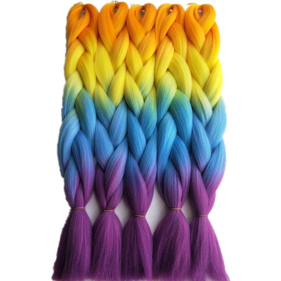 Orange Yellow Blue Ombre Rainbow Color Box Braids Hair
