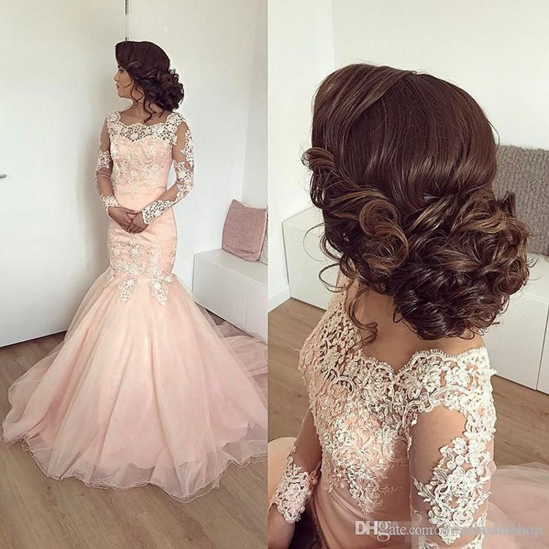 Vintage Blush Pink Lace Tulle Mermaid Prom Dresses For Black Girls Long Sleeves Sheer Scoop Corset Back vestido longo Evening Party Gowns