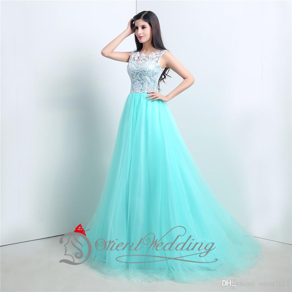 New Arrival 2015 Formal Prom Dresses Crew Neckline Cap Sleeve Prom ...