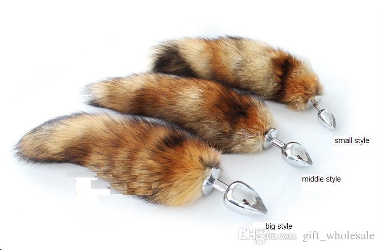 35 cm de comprimento Fox Tail Plug Anal de Metal Butt Plug Brinquedo Do Sexo Anal 7 cm 8 cm 9 cm plugue para a escolha