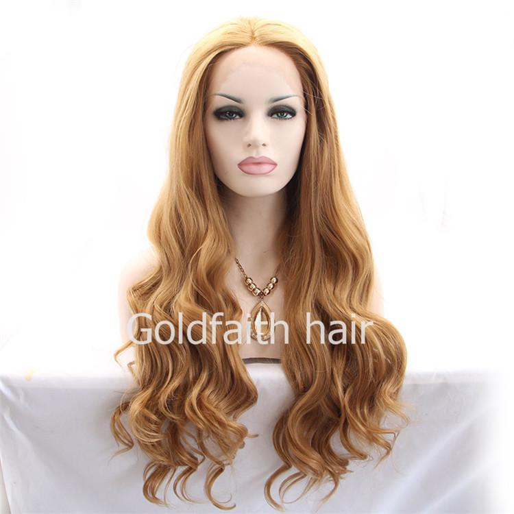 SF8 Cheap Blonde Synthetic Lace Front Wig Loose Wavy Heat Resistant Wig Kanekalon Natural Wig For Daily Use