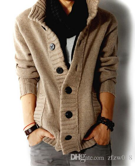 2018 Wool Blended Thick Sweater Man Turtleneck Sweater Coat Pure ...